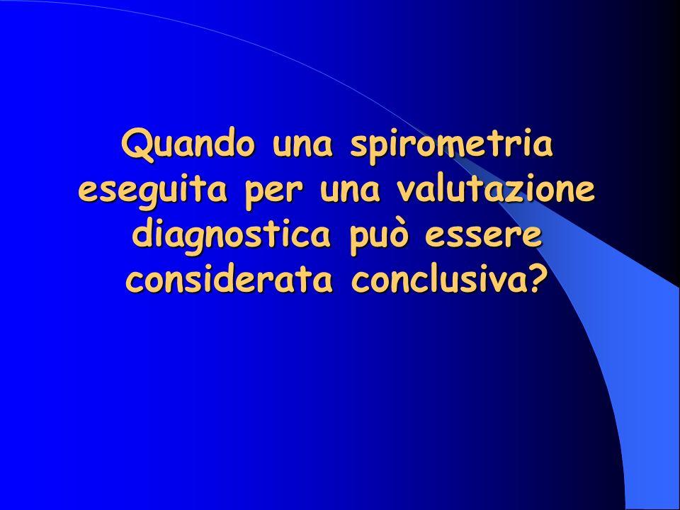 Quando una spirometria eseguita per una valutazione diagnostica può essere considerata conclusiva