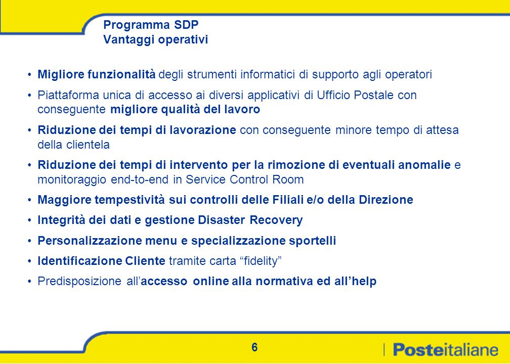 Programma SDP Vantaggi operativi