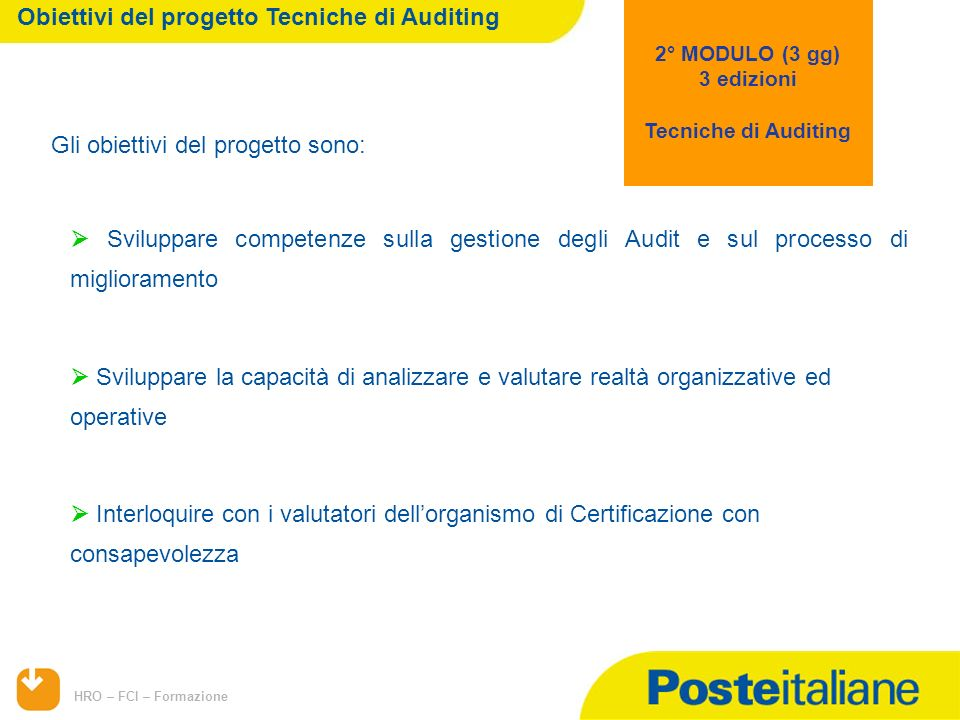 Obiettivi del progetto Tecniche di Auditing