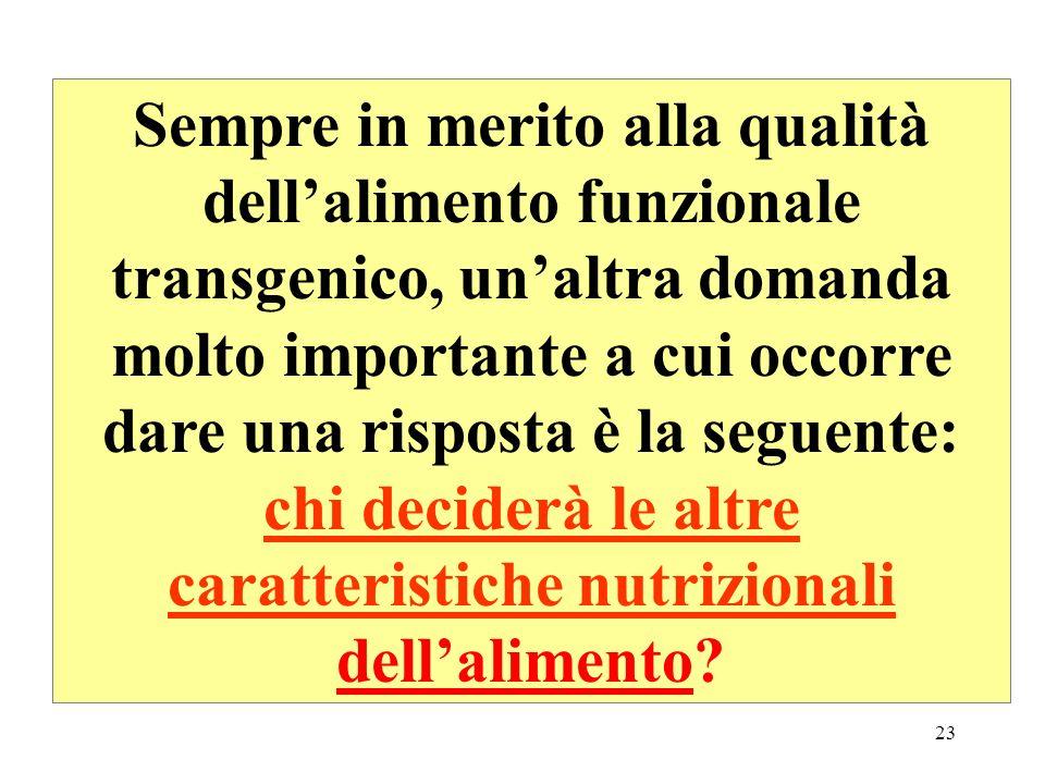Sempre in merito alla qualità dell'alimento funzionale transgenico, un'altra domanda molto importante a cui occorre dare una risposta è la seguente: chi deciderà le altre caratteristiche nutrizionali dell'alimento