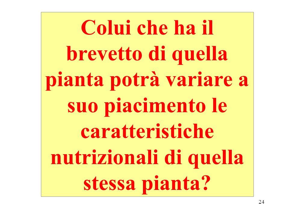 Colui che ha il brevetto di quella pianta potrà variare a suo piacimento le caratteristiche nutrizionali di quella stessa pianta