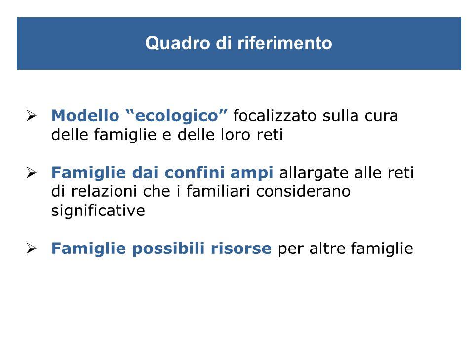 Quadro di riferimento Modello ecologico focalizzato sulla cura delle famiglie e delle loro reti.