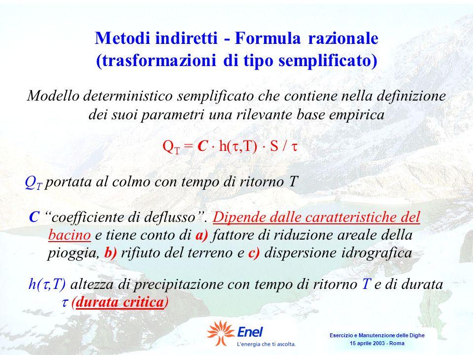 Metodi indiretti - Formula razionale