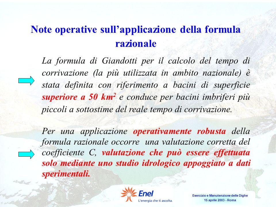 Note operative sull'applicazione della formula razionale