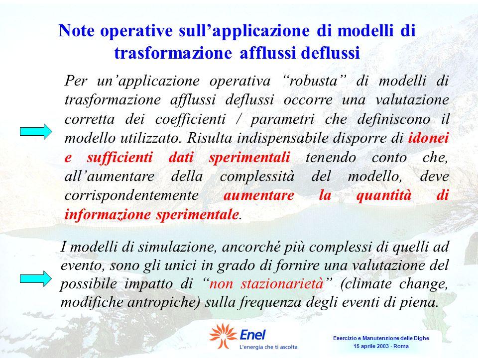 Note operative sull'applicazione di modelli di trasformazione afflussi deflussi