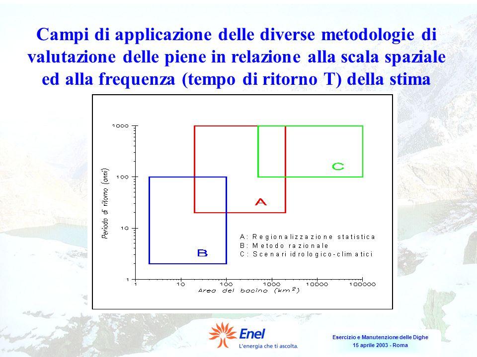 Campi di applicazione delle diverse metodologie di valutazione delle piene in relazione alla scala spaziale ed alla frequenza (tempo di ritorno T) della stima