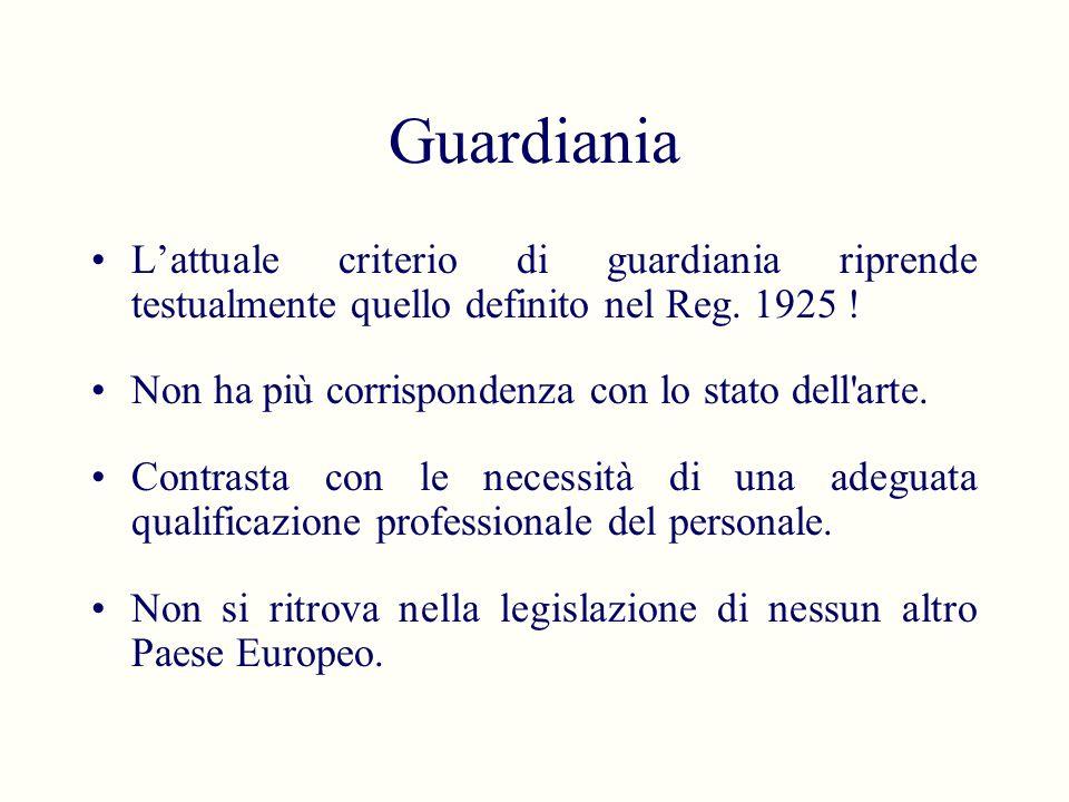 Guardiania L'attuale criterio di guardiania riprende testualmente quello definito nel Reg. 1925 ! Non ha più corrispondenza con lo stato dell arte.