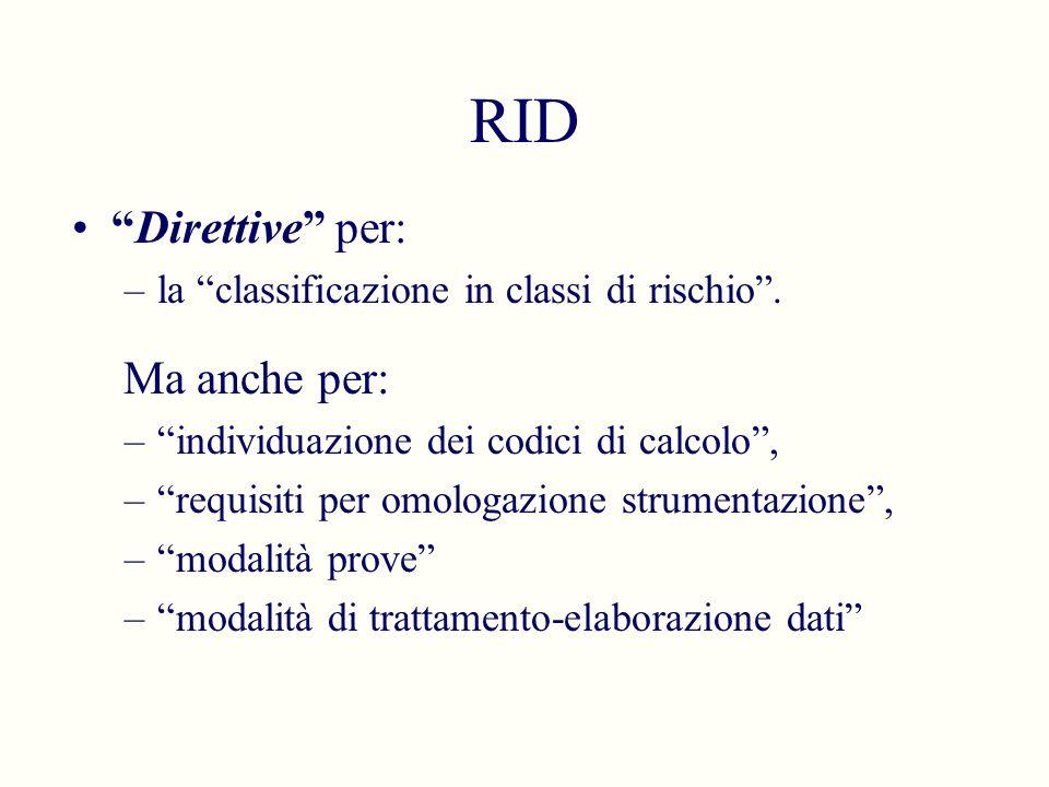 RID Direttive per: Ma anche per: