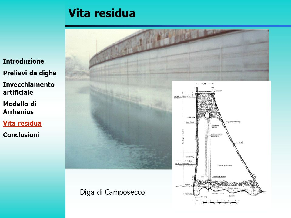 Vita residua Diga di Camposecco Cross section of Camposecco Dam