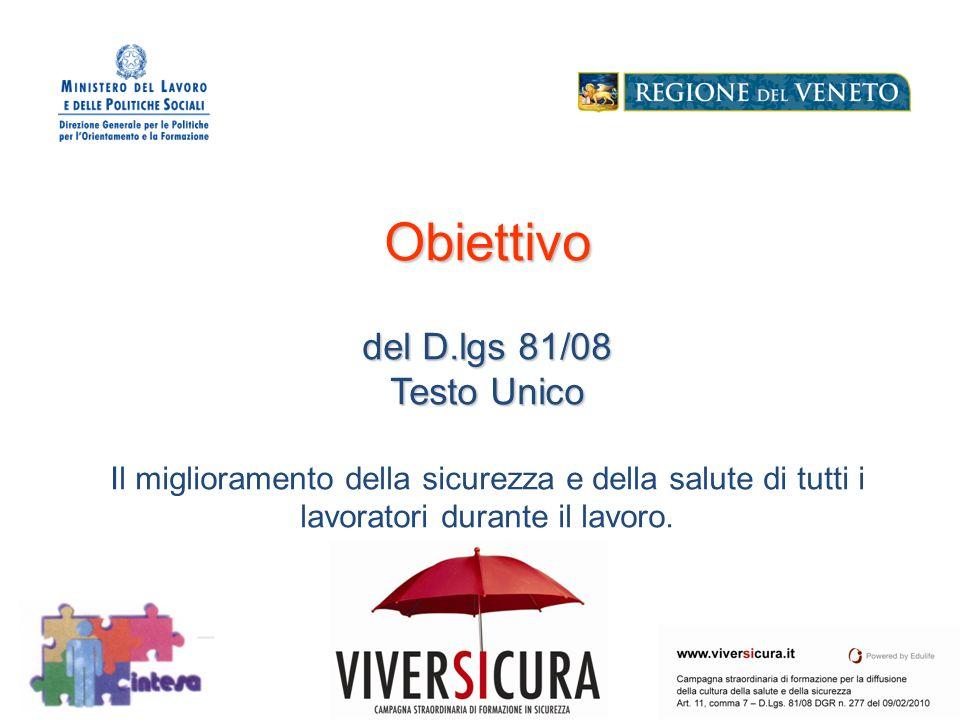 Obiettivo del D.lgs 81/08 Testo Unico Il miglioramento della sicurezza e della salute di tutti i lavoratori durante il lavoro.