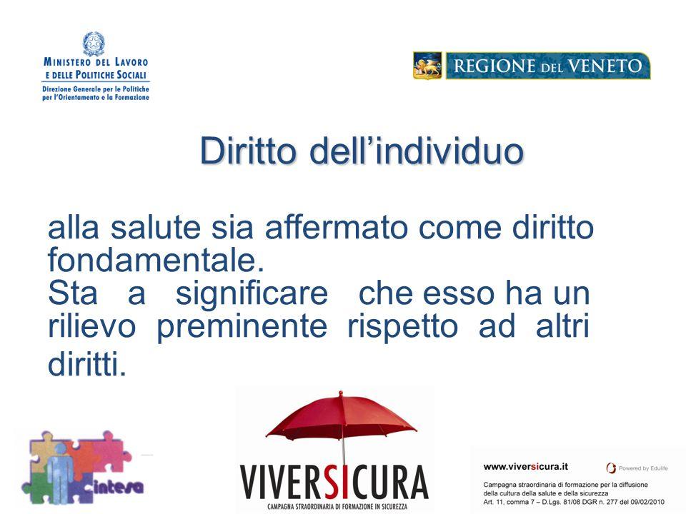 Diritto dell'individuo alla salute sia affermato come diritto fondamentale.