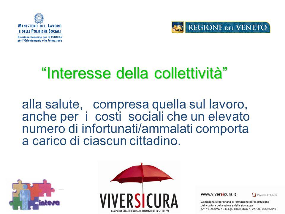 Interesse della collettività alla salute, compresa quella sul lavoro, anche per i costi sociali che un elevato numero di infortunati/ammalati comporta a carico di ciascun cittadino.