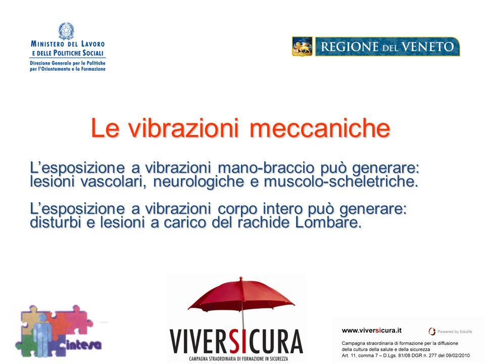Le vibrazioni meccaniche L'esposizione a vibrazioni mano-braccio può generare: lesioni vascolari, neurologiche e muscolo-scheletriche.
