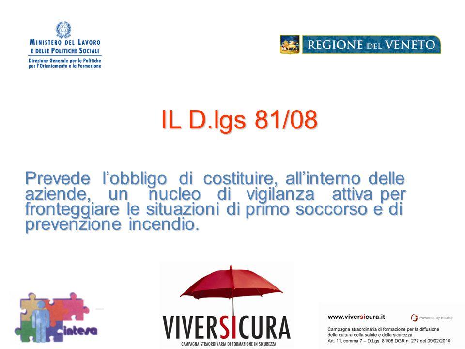 IL D.lgs 81/08 Prevede l'obbligo di costituire, all'interno delle aziende, un nucleo di vigilanza attiva per fronteggiare le situazioni di primo soccorso e di prevenzione incendio.