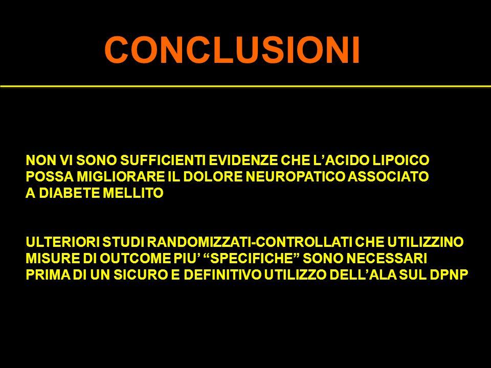 CONCLUSIONI NON VI SONO SUFFICIENTI EVIDENZE CHE L'ACIDO LIPOICO