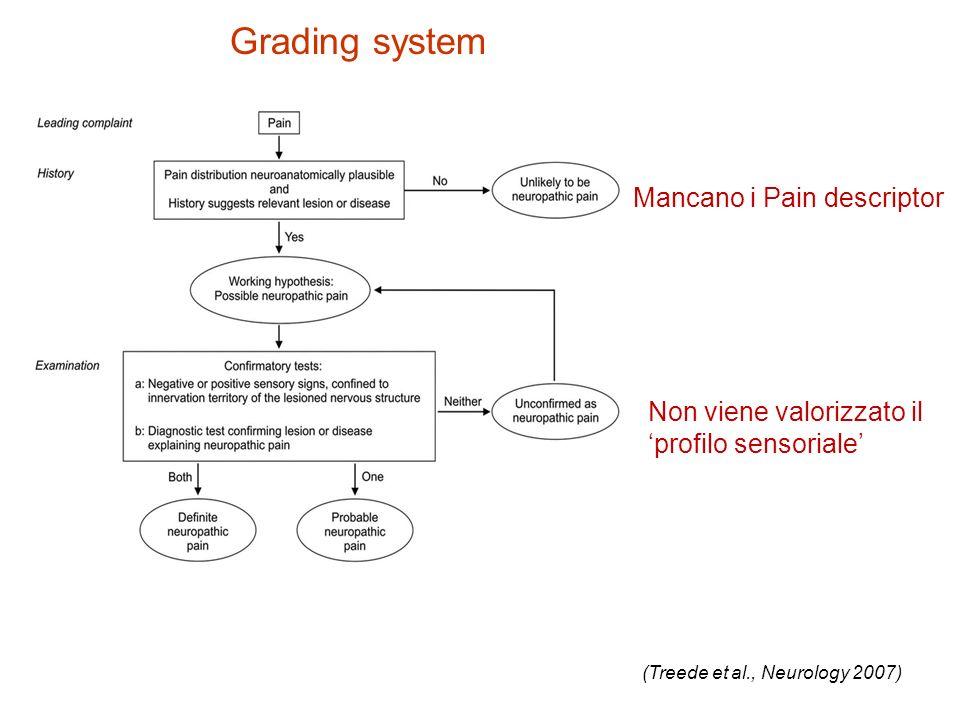 Grading system Mancano i Pain descriptor Non viene valorizzato il