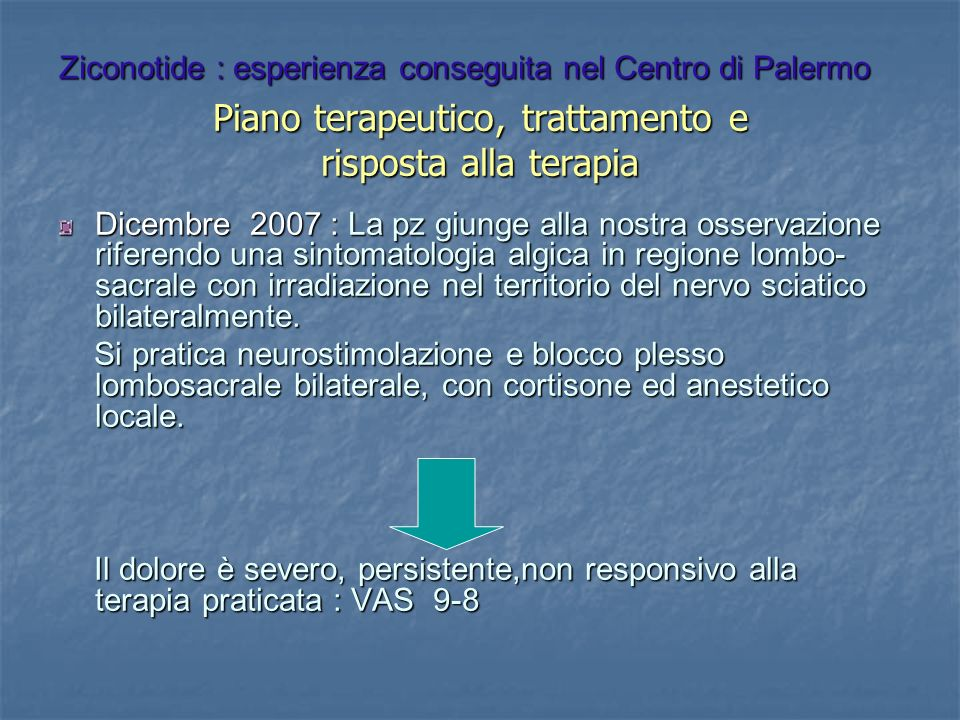 Piano terapeutico, trattamento e risposta alla terapia