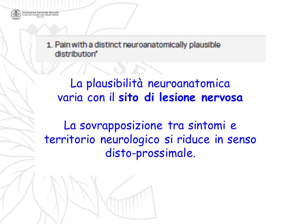 La plausibilità neuroanatomica varia con il sito di lesione nervosa