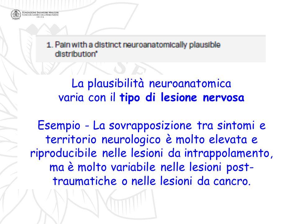 La plausibilità neuroanatomica varia con il tipo di lesione nervosa