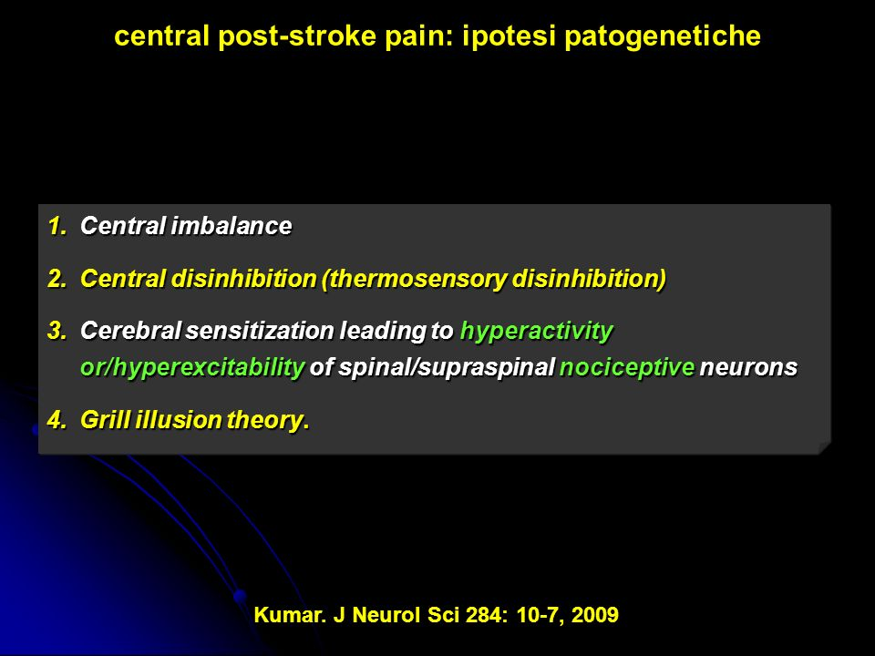 central post-stroke pain: ipotesi patogenetiche