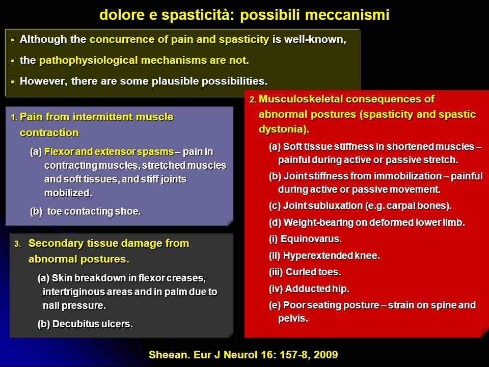 dolore e spasticità: possibili meccanismi