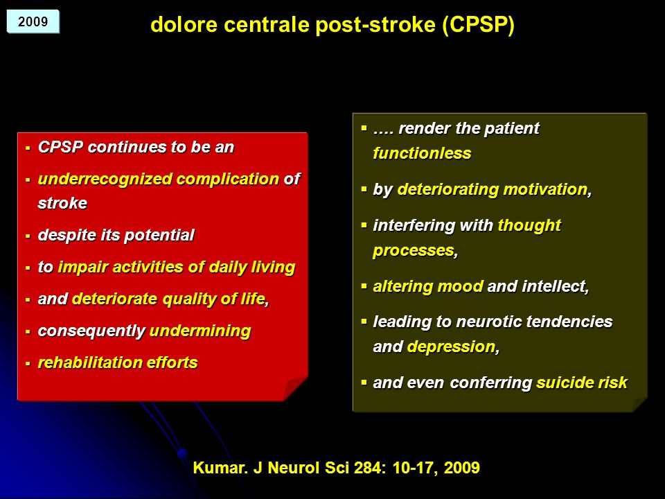 dolore centrale post-stroke (CPSP)