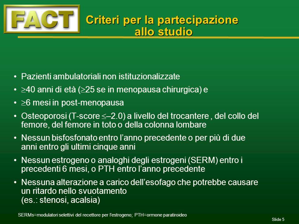 Criteri per la partecipazione allo studio