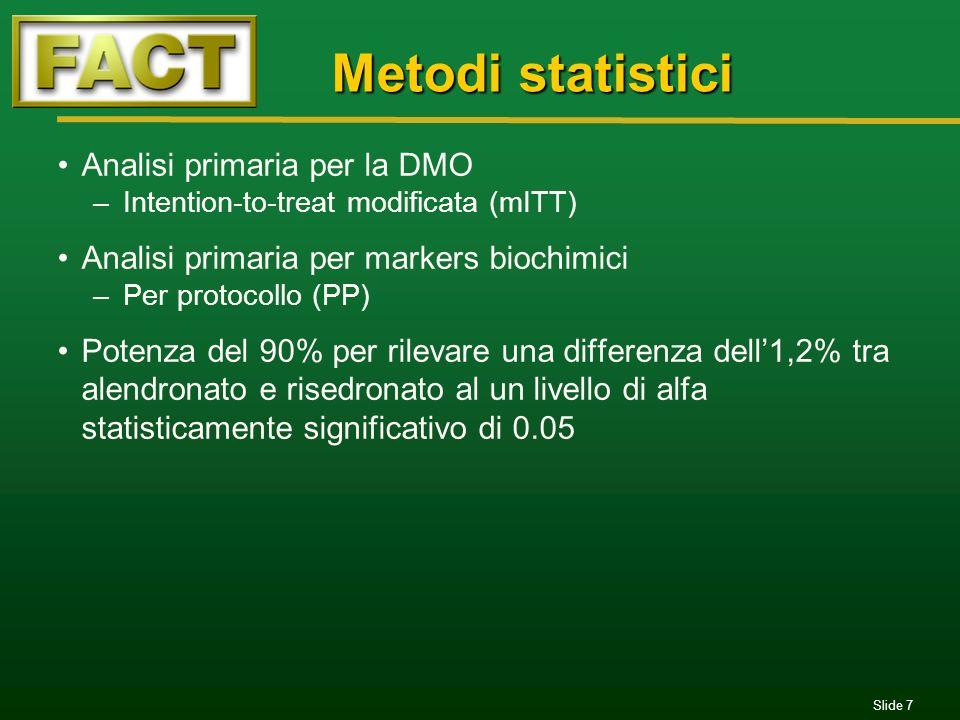 Metodi statistici Analisi primaria per la DMO