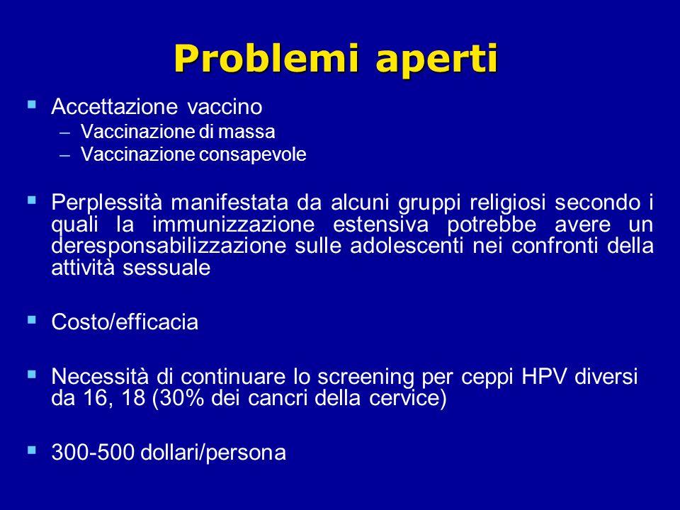 Problemi aperti Accettazione vaccino