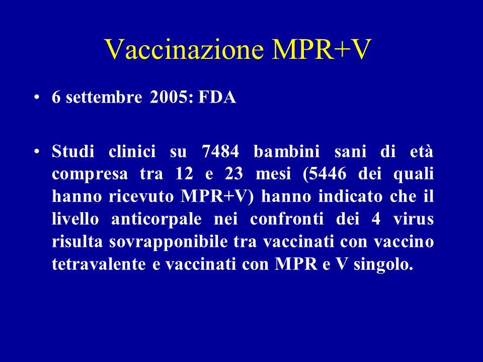 Vaccinazione MPR+V 6 settembre 2005: FDA