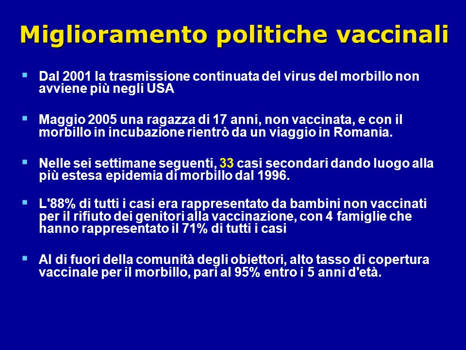 Miglioramento politiche vaccinali