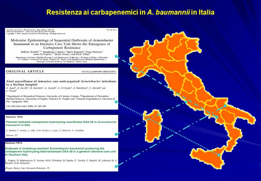 Resistenza ai carbapenemici in A. baumannii in Italia