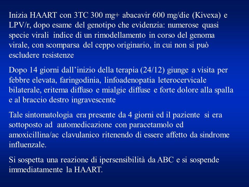 Inizia HAART con 3TC 300 mg+ abacavir 600 mg/die (Kivexa) e LPV/r, dopo esame del genotipo che evidenzia: numerose quasi specie virali indice di un rimodellamento in corso del genoma virale, con scomparsa del ceppo originario, in cui non si può escludere resistenze