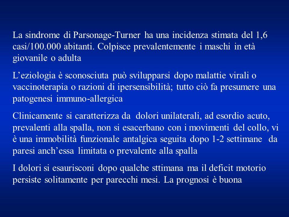 La sindrome di Parsonage-Turner ha una incidenza stimata del 1,6 casi/100.000 abitanti. Colpisce prevalentemente i maschi in età giovanile o adulta