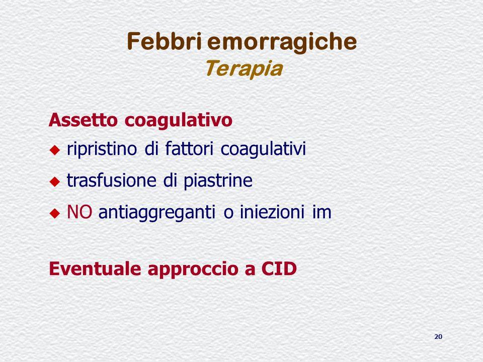 Febbri emorragiche Terapia Assetto coagulativo