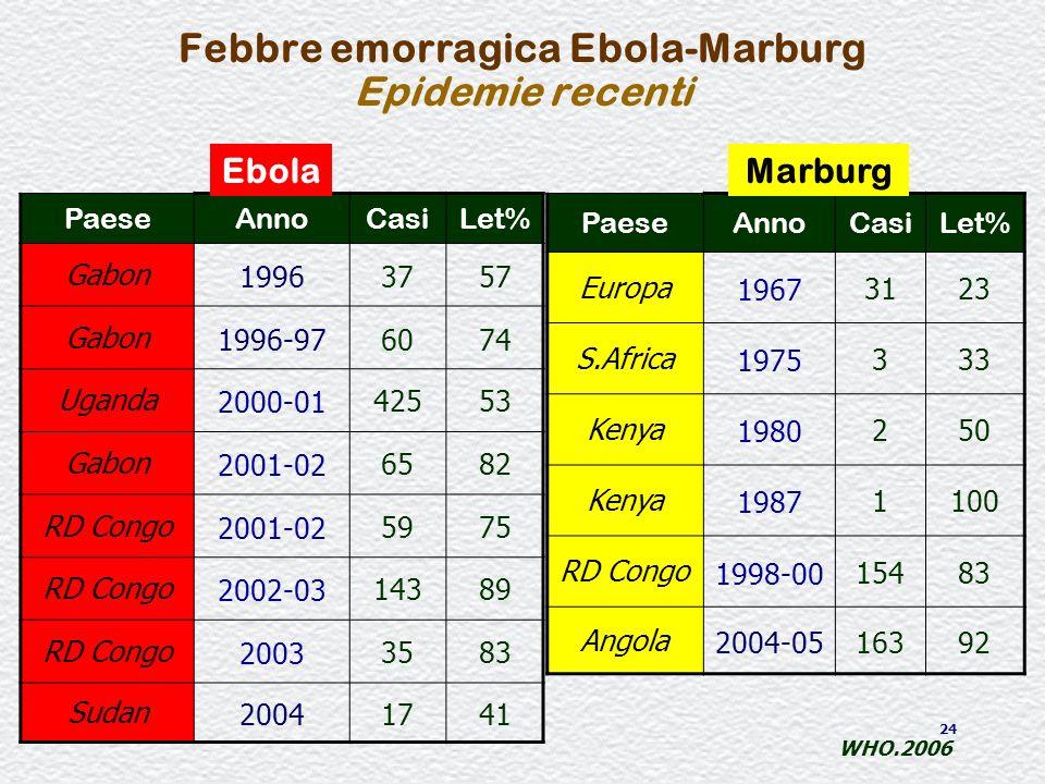 Febbre emorragica Ebola-Marburg Epidemie recenti