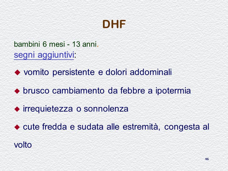 DHF vomito persistente e dolori addominali segni aggiuntivi:
