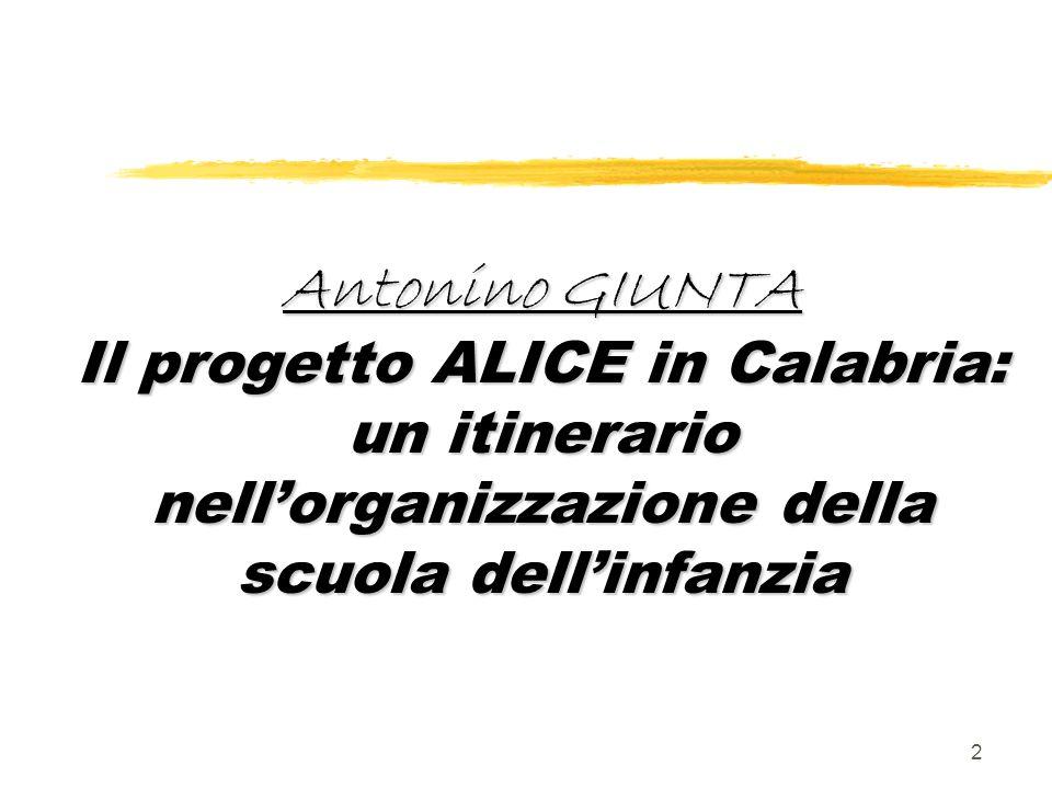 Antonino GIUNTA Il progetto ALICE in Calabria: un itinerario nell'organizzazione della scuola dell'infanzia