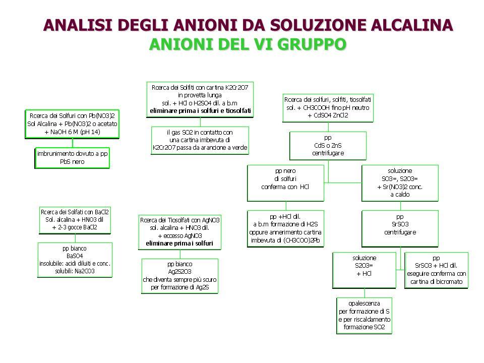 ANALISI DEGLI ANIONI DA SOLUZIONE ALCALINA