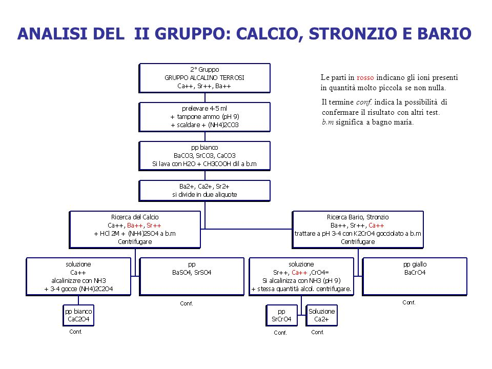 ANALISI DEL II GRUPPO: CALCIO, STRONZIO E BARIO