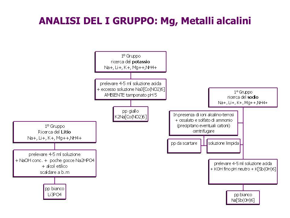 ANALISI DEL I GRUPPO: Mg, Metalli alcalini