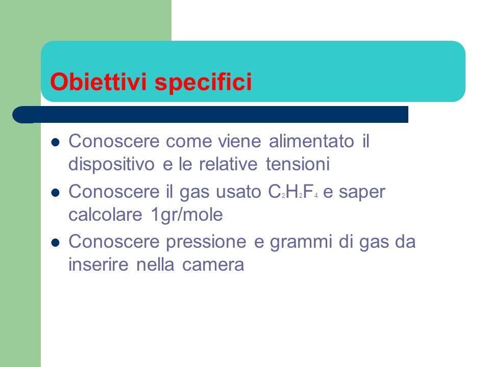 Obiettivi specifici Conoscere come viene alimentato il dispositivo e le relative tensioni. Conoscere il gas usato C2H2F4 e saper calcolare 1gr/mole.