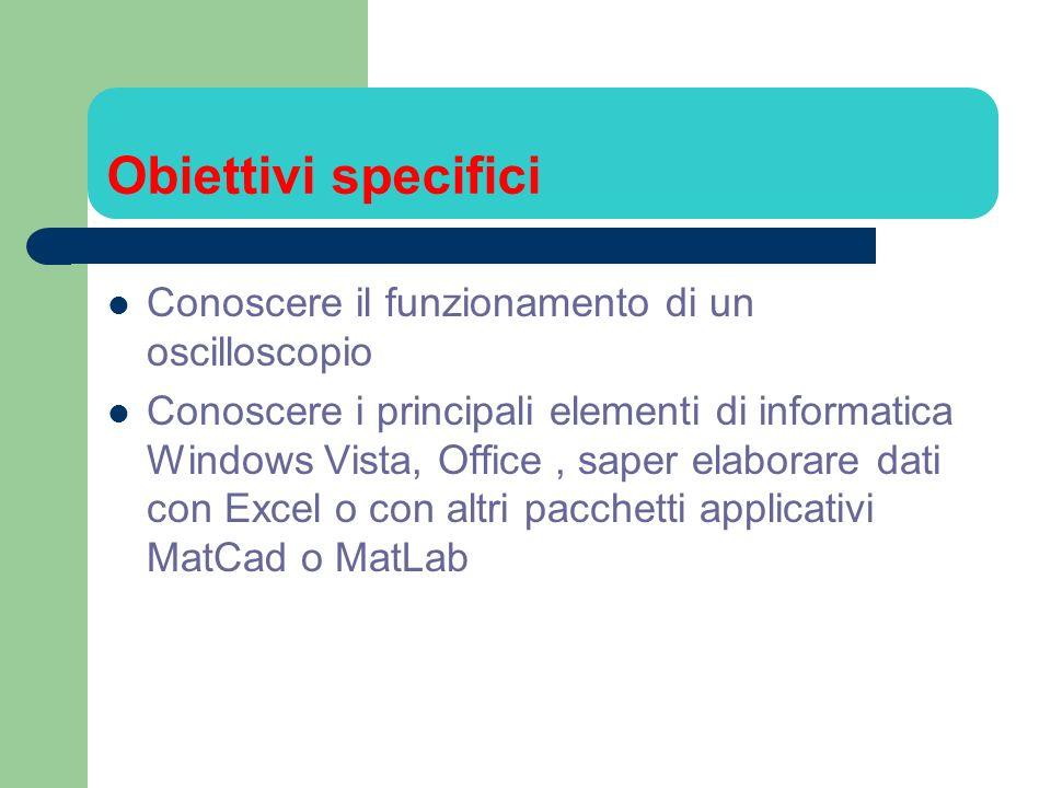 Obiettivi specifici Conoscere il funzionamento di un oscilloscopio