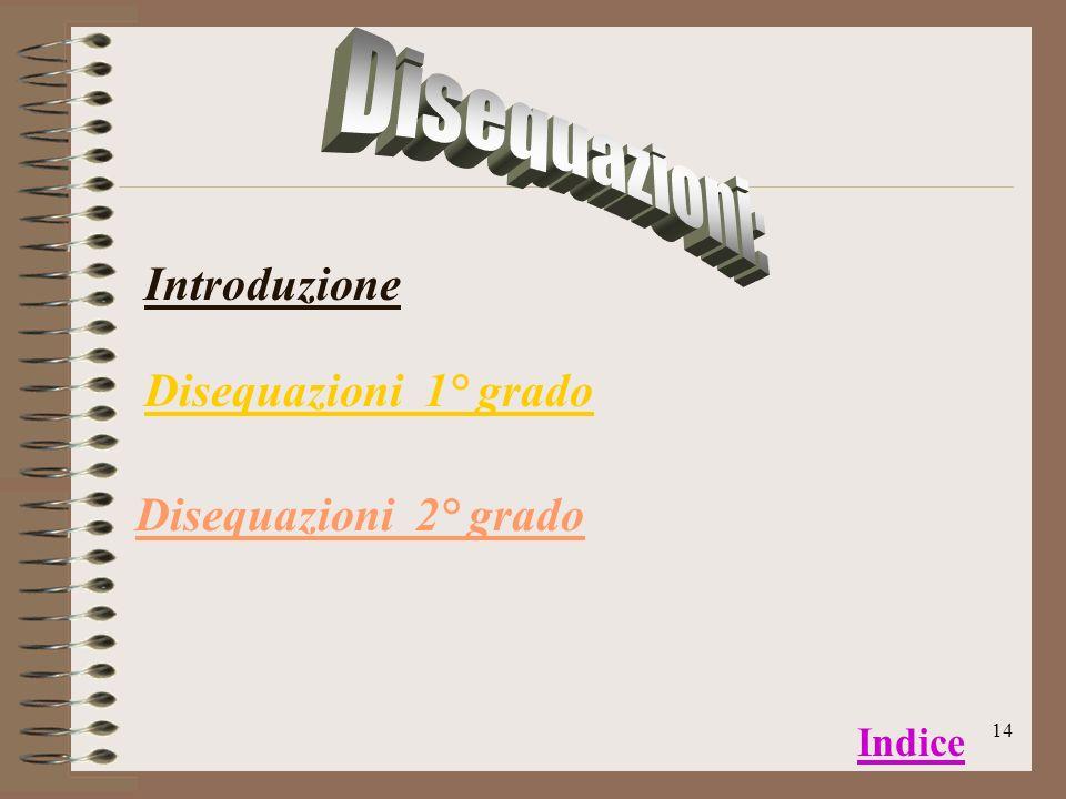 Disequazioni: Introduzione Disequazioni 1° grado Disequazioni 2° grado