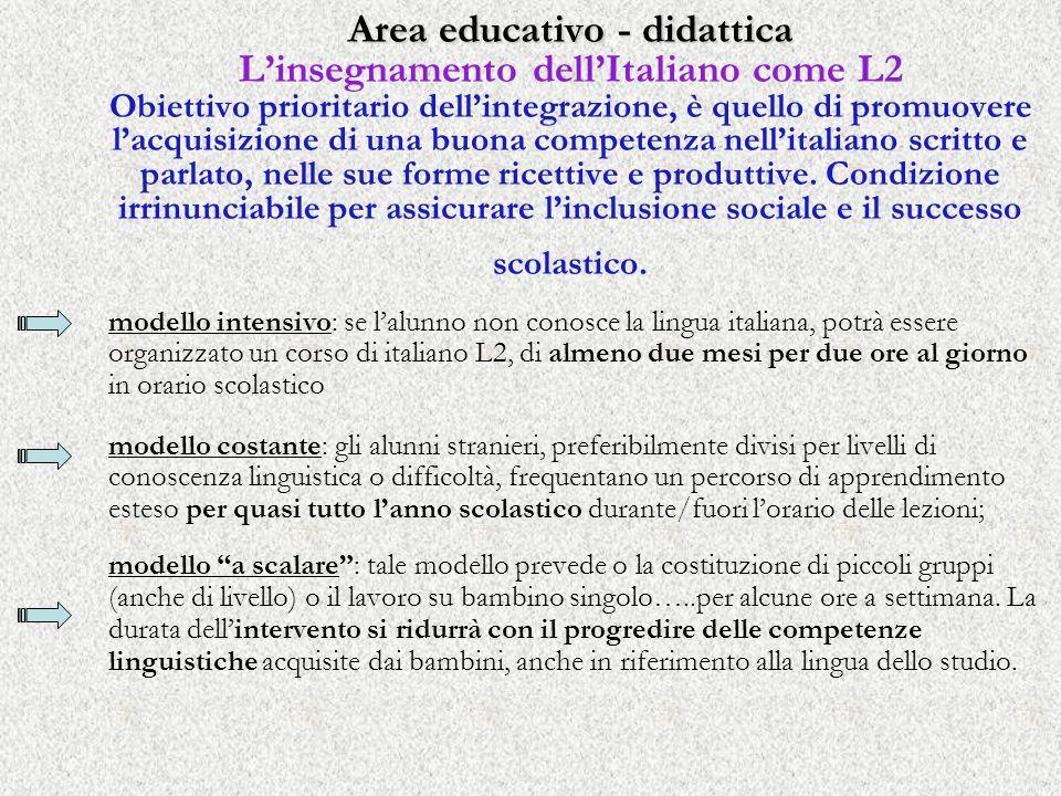 Area educativo - didattica L'insegnamento dell'Italiano come L2 Obiettivo prioritario dell'integrazione, è quello di promuovere l'acquisizione di una buona competenza nell'italiano scritto e parlato, nelle sue forme ricettive e produttive. Condizione irrinunciabile per assicurare l'inclusione sociale e il successo scolastico.
