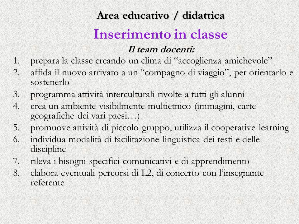 Area educativo / didattica Inserimento in classe Il team docenti: