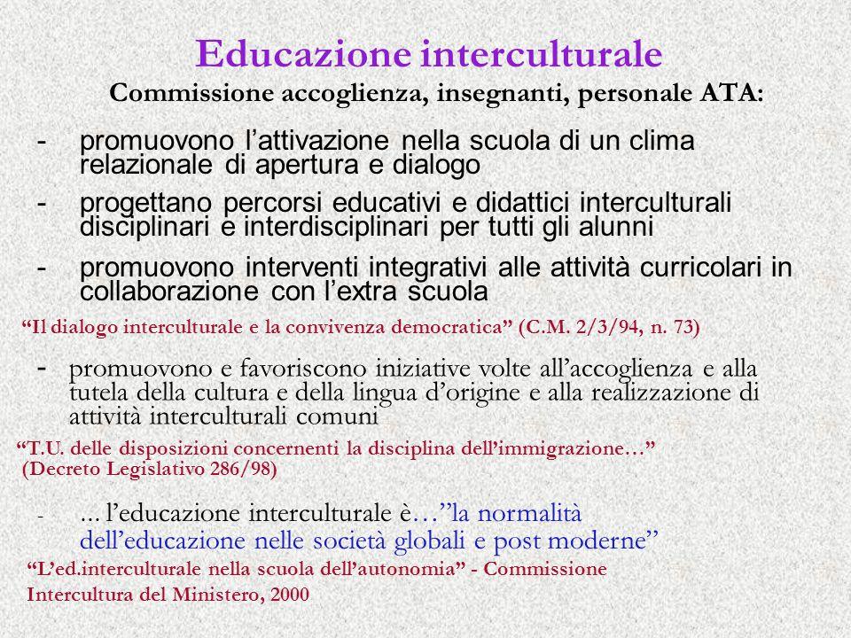 Educazione interculturale Commissione accoglienza, insegnanti, personale ATA: