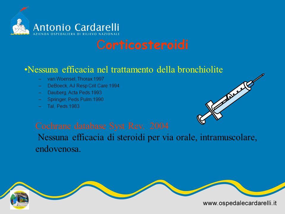 Corticosteroidi Nessuna efficacia nel trattamento della bronchiolite
