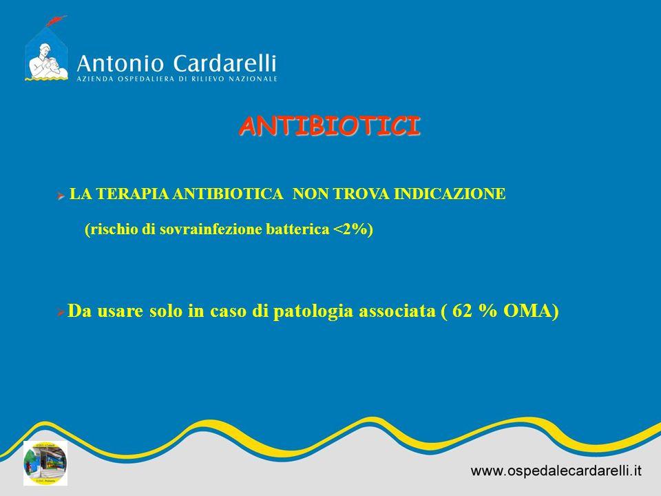 ANTIBIOTICI Da usare solo in caso di patologia associata ( 62 % OMA)