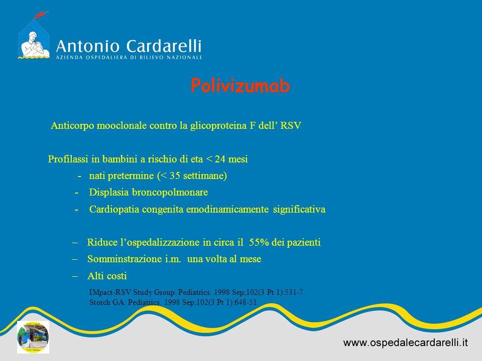 Polivizumab Anticorpo mooclonale contro la glicoproteina F dell' RSV